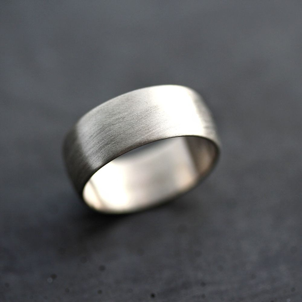 Banded Bands: Wide Men's White Gold Wedding Band Recycled 14k Palladium