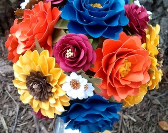 Paper Bouquet  - Late Summer Wedding - Paper Flower Bouquet - Custom Made - Any Color