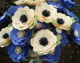 Paper Flowers - Stemmed Daisy - Wedding Flowers - Bridal Shower - Set of 24 - Any Color - MADE TO ORDER