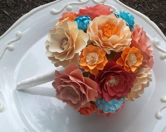 Paper Flower Bouquet - Wedding Bouquet - Bridal Bouquet - Coral - Tangerine - Splash of Blue - Custom Made - Any Color
