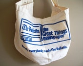 Vintage Newspaper Delivery Bag // Philadelphia Bulletin //  Blue // 1970s Paperboy Bag // Carrier Tote // Messenger Bag // Crossbody Hobo