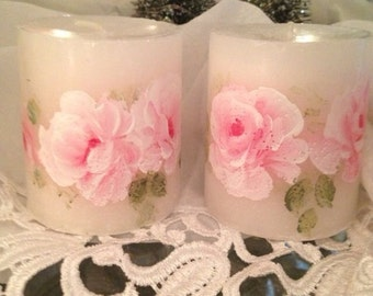 Hp candles roses pink canles  pair