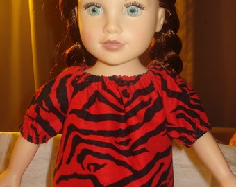 Peasant blouse in red and black Zebra stripes for 18 inch Dolls - ag176