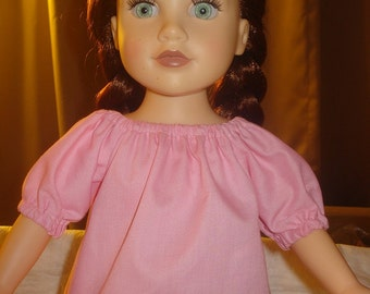 Lite pink Peasant top for 18 inch Dolls - ag180