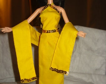 Bright yellow & gold sequined 3-piece formal set for Fashion Dolls - ed460