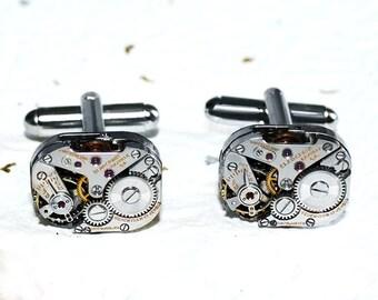 Blancpain Men Steampunk Cufflinks - HIGH END Luxury Swiss GENUINE Silver Vintage Watch Movement - Men Steampunk Cufflinks / Cuff Links Gift