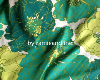 "Green Jade, silk fabric, huge floral print silk cotton blend fabric, one yard by 44"" wide"