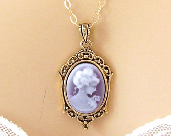 Purple Cameo Necklace: Victorian Woman Tiny Lavender Cameo Necklace, Gold Fill, Vintage Inspired Romantic Purple Necklace, Gift Idea for He