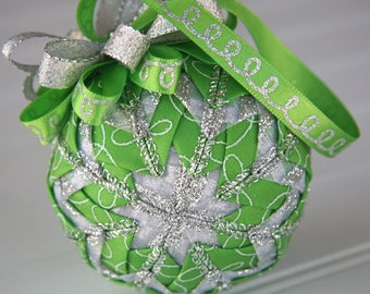 Green and Silver Quilted Christmas Ornament Ball - Lime Squiggles