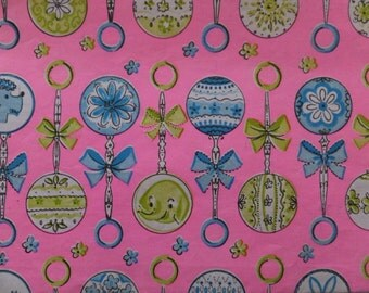 Vintage Baby Shower Pink Blue Poodle Elephant Rattles Gift Wrap Wrapping Paper