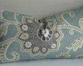 Decorative Lumbar Pillow Cover-BOTH SIDES - throw pillow-designer pillow -Blue Gray pillow -jacobean pillow - accent pillow - sage