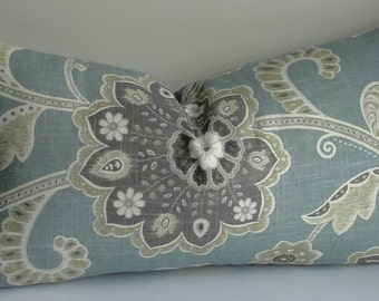 Decorative Lumbar Pillow Cover-BOTH SIDES - throw pillow-designer pillow -Blue Gray pillow -jacobean pillow - accent pillow - sage
