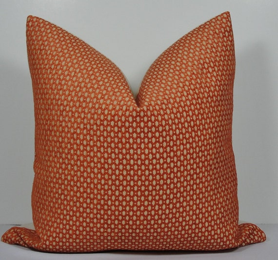 Geometric Decorative Pillow cover Burnt Orange Throw by WilmaLong