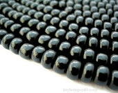 Seed Beads, Black, Size 1/0, 6.5mm Rocaille, Glass Beads