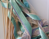 Personalized Wedding Wands, 100 Custom Streamers, ANY Three Satin Ribbons or Lace with Bells,