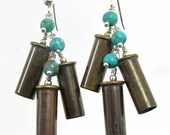 Bullet Casing Earrings with Turquoise and Sterling Silver - Oxidized .22 Caliber Bullet Earrings, .22 Bullet Jewelry, Unique Bullet Earrings