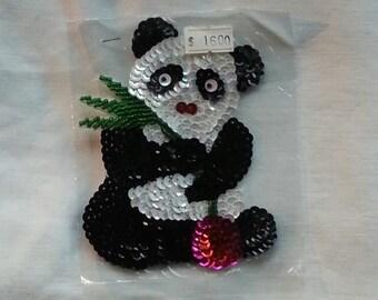 CLEARANCE. Vintage  Sequin Panda  Bear  Applique