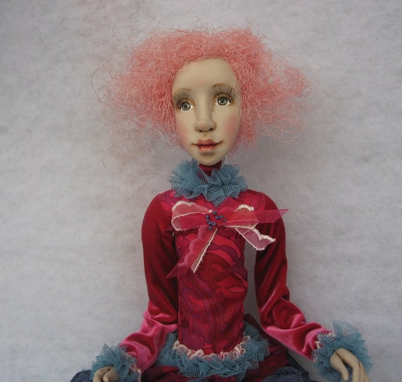 Reserved September sale 10% of Nona Art doll OOAK  Handmade art doll  Polimer clay doll Collectible doll
