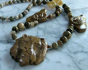 Lion and Rams Heads Natural Golden Stone and Crystal Solar Plexus Chakra Energy Healing and Balancing Necklace