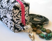 Mini Box Zipper Pouch with Swivel Clip, Black,  and White Damask with Pink