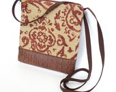 Cross Body Bag, Fabric Hip Bag, Pouch Purse - Cheyenne Paisley in Cinnamon and Tan