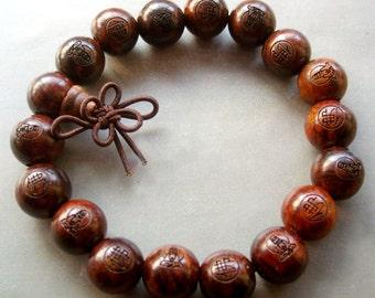 12mm Tibet Buddhist Buddha Red Rosewood Beads Prayer Stretchy Mala Bracelet Hand String With Kwan-Yin FO T1592