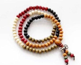 6mm Tibetan Wood 108 Beads Buddhist Buddha Prayer Stretchy Rosary Mala  ZZ161