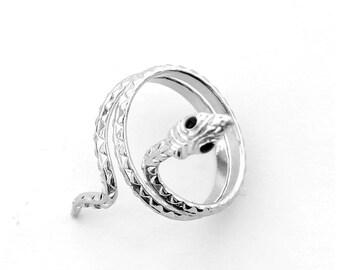 Silver Tone Alloy Metal Snake Boa Ring--Width In 40mm--Diameter In 18mm  T2869