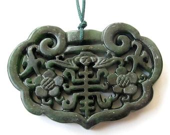 Two Sides Carved Talisman Natural Stone Flower Bat Longevity Amulet Pendant 56mm x 40mm  T1103