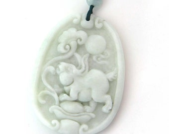 Natural Stone Fortune Zodiac Rabbit Yuanbao Amulet Pendant Talisman Bead 42mm x 31mm  TH289