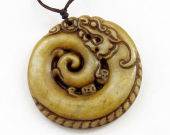 Chinese Natural Xiuyan Stone Carved Happy Lucky Dragon Amulet Pendant 42mm x 42mm  T3114