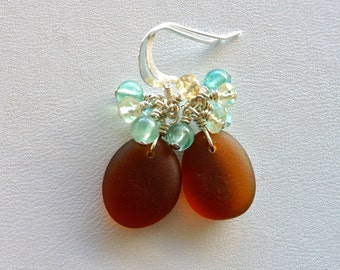 Sea Glass Jewelry Light Brown Earrings Apatite Citrine Sterling Silver
