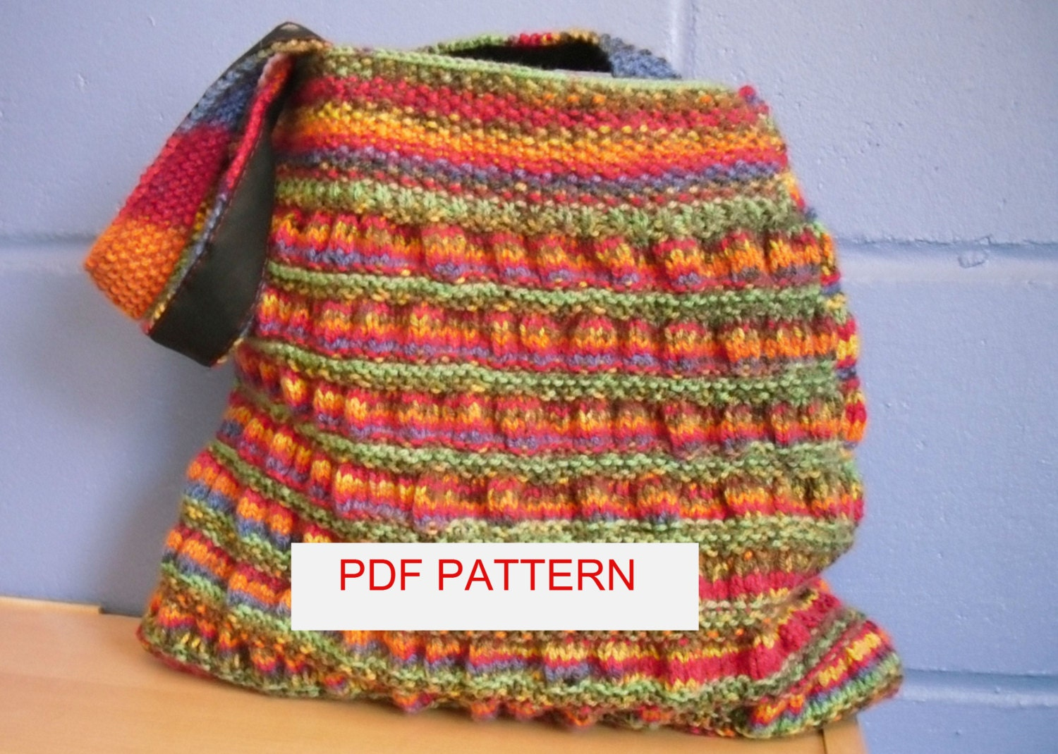Knitted Tote Bag Pattern : Knitting Pattern Gathered Tote Bag.