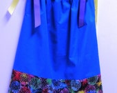 Pillowcase Dress - Royal Blue and Fireworks - Made to Order