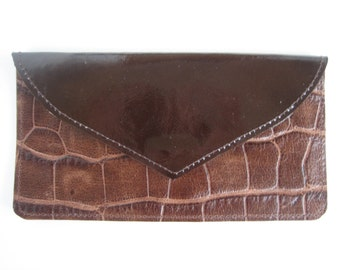 Brown Patent & Croc Printed Leather Wallet