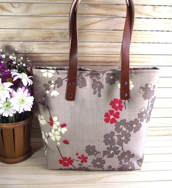 Floral Tote Bag with Leather Handles Shoulder Bag Japanese design Gray Casual Bag Book Bag Travel Bag Large Tote