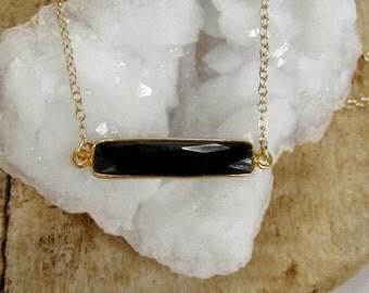 Black Onyx Bar Necklace Sideways Gemstone Pendant 14K Gold Fill
