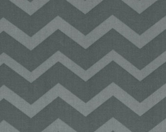 Chevron- Charcoal Grey on Grey Tonal- FQ - last piece