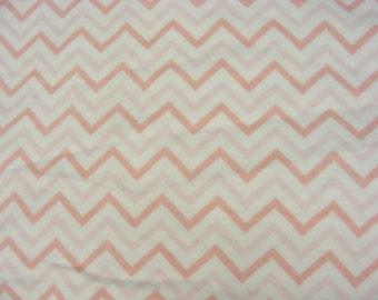 Pink and White Tonal Chevrons -Cotton Flannel Fabric  - BTY