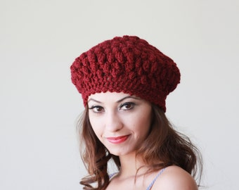 Women Crochet Beanie Hat, Burgundy beret for Women, Accessories Winter hat, Wool hat women