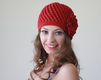 Red crochet hat, Red crochet beanie, Women red hat, Women red beanie, Crochet red beanie, Crochet red hat, Beanie with flower