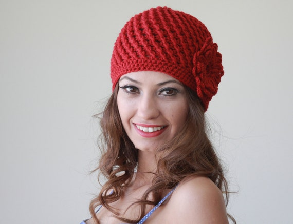 Red crochet hat red crochet beanie women red hat women red beanie
