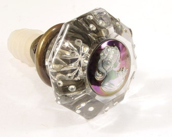 Vintage Glass Door Knob Wine Bottle Stopper - PEARLIZED Cameo w Crystals for Wine & Absinthe