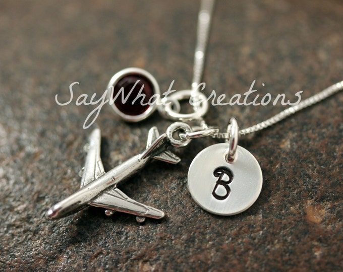 Hand Stamped Mini Initial Sterling Silver Airplane Charm Necklace