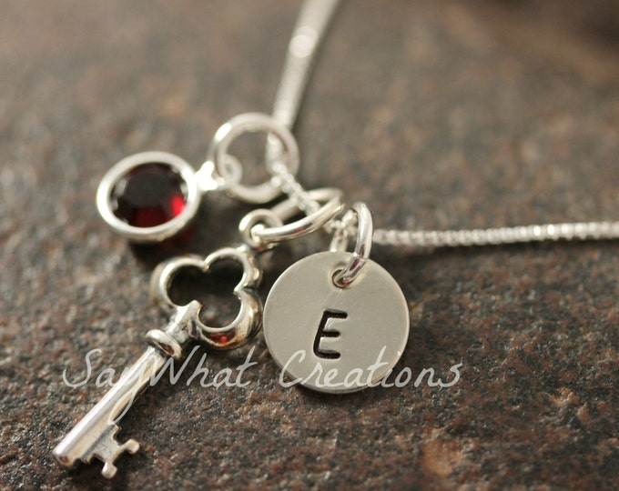 Sterling Silver Mini Initial Hand Stamped Key Charm Necklace Key to my heart