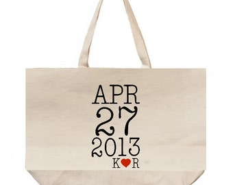 LARGE  TOTE -20x16x4 Wedding Welcome Bags-Personalized Wedding Tote- Canvas Totes