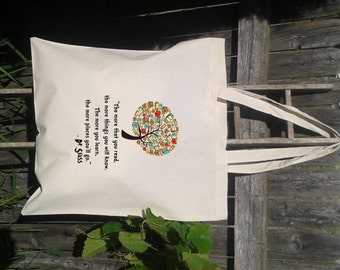 Dr Seuss Quote  - Eco Friendly Tote - Book Bag - Library Tote