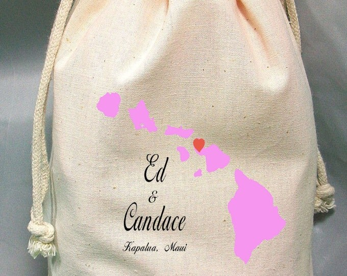 8x12 Drawstring Bags- Wedding Favor-Party Favor - Pick SIze - Muslin Bag - Your Destination- Customize