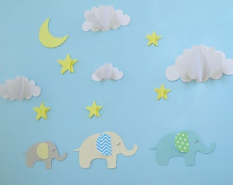 Elephant 3D Wall Decals, Wall Art, Wall Decor, Elephant Nursery Decor