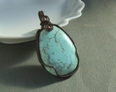 Blue copper pendant, turquoise howlite stone antiqued rustic jewelry
